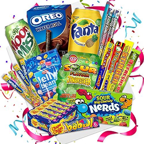 QueenBox® England Süßigkeiten Box | UK Kennenlernbox 12 Teile - Candy Mix inkl. Getränke – Peanut –...