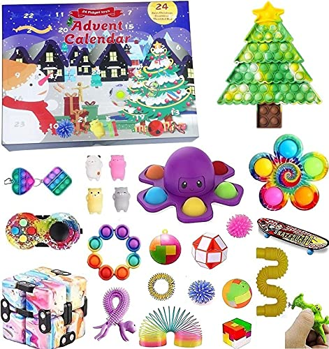 TIANkuo 2021 Christmas Countdown Adventskalender Figetsss Spielzeug-Sets,Fidget Spielzeug Set,für Zuhause, Schule, Büro, Party, Eltern-Kind-Spiel PackA