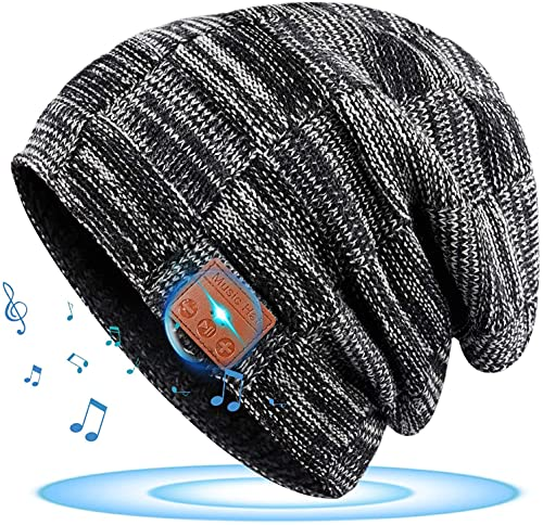 Geschenke für Männer Bluetooth Mütze - Geschenke Weihnachten Mütze mit bluetooth kopfhörer, Wichtelgeschenk Ideen für Männer Winter Musik Strickmütze, Nützliche Geschenke für Angler Fahrrad Wanderer
