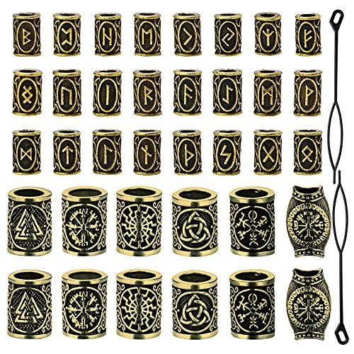 Cdemiy wikinger bartperlen, 36 Pcs Haar Bart Perlen Flechten Perlen, Antike Rune Viking Haarschmuck Bartperlen Flechtset, für DIY Armbänder zur Herstellung von Haarschmuck (Gold)