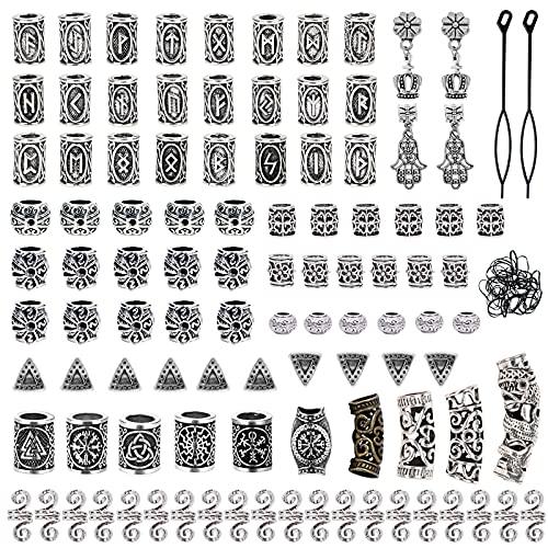 Showgeous 100 Stück Wikinger Bartperlen Antike nordische Haarschlauchperlen Metall Dreadlocks Perlen für das...
