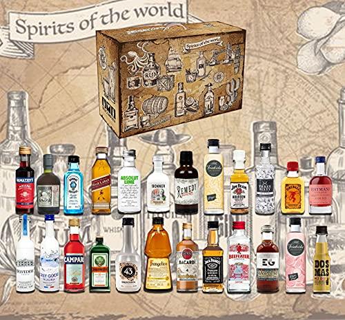 Spirituosen Tasting Kalender - 24x verschiedene Spirituosen im Adventskalender - Weihnachten Gin Vodka Rum Tequila Whisky Likör Geschenk Set Probierset