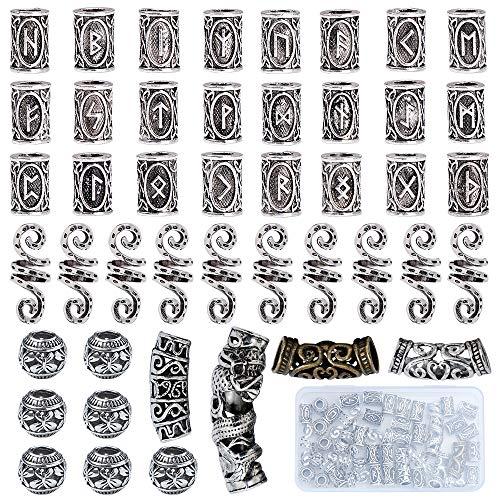 YMHPRIDE 45 Stücke Wikinger Bart Perlen Antike Nordische Haarschlauch Perlen Dreadlocks Perlen für Haar Flechten Armband Anhänger Halskette Silber DIY Schmuck Haarschmuck