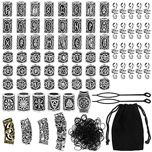 Queta 80 Runeperlen Set mit 300 Gummibänder Wikinger Bart Perlen Antik DIY Haar Bartperlen Nordische Haarschmuck Flechten Armband Anhänger Halskette Afrikanische Perlen Keramik