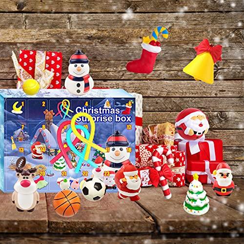 wojonifuiliy Weihnachten Adventskalender Kinder, 24 Tage voller Überraschungen Toys Bulk Weihnachtskalender Weihnachts-Kalender Weihnachts-Countdown-Dekoration mit 24 kleinen Türen (A-13)