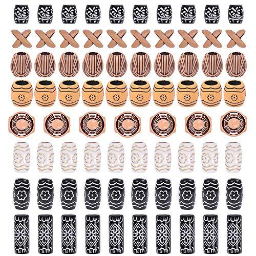 YMHPRIDE 80 Stück African Pottery Dreadlocks Perlen, Bartperlen im antiken Stil, Haarschlauchperlen im...